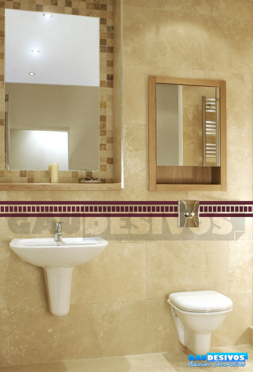 Adesivo decorativo de parede faixa border azulejo banheiro for Azulejos decorativos