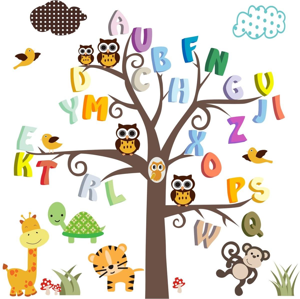 Adesivo papel parede infantil macaco safari animais zoo for Papel decorativo pared infantil