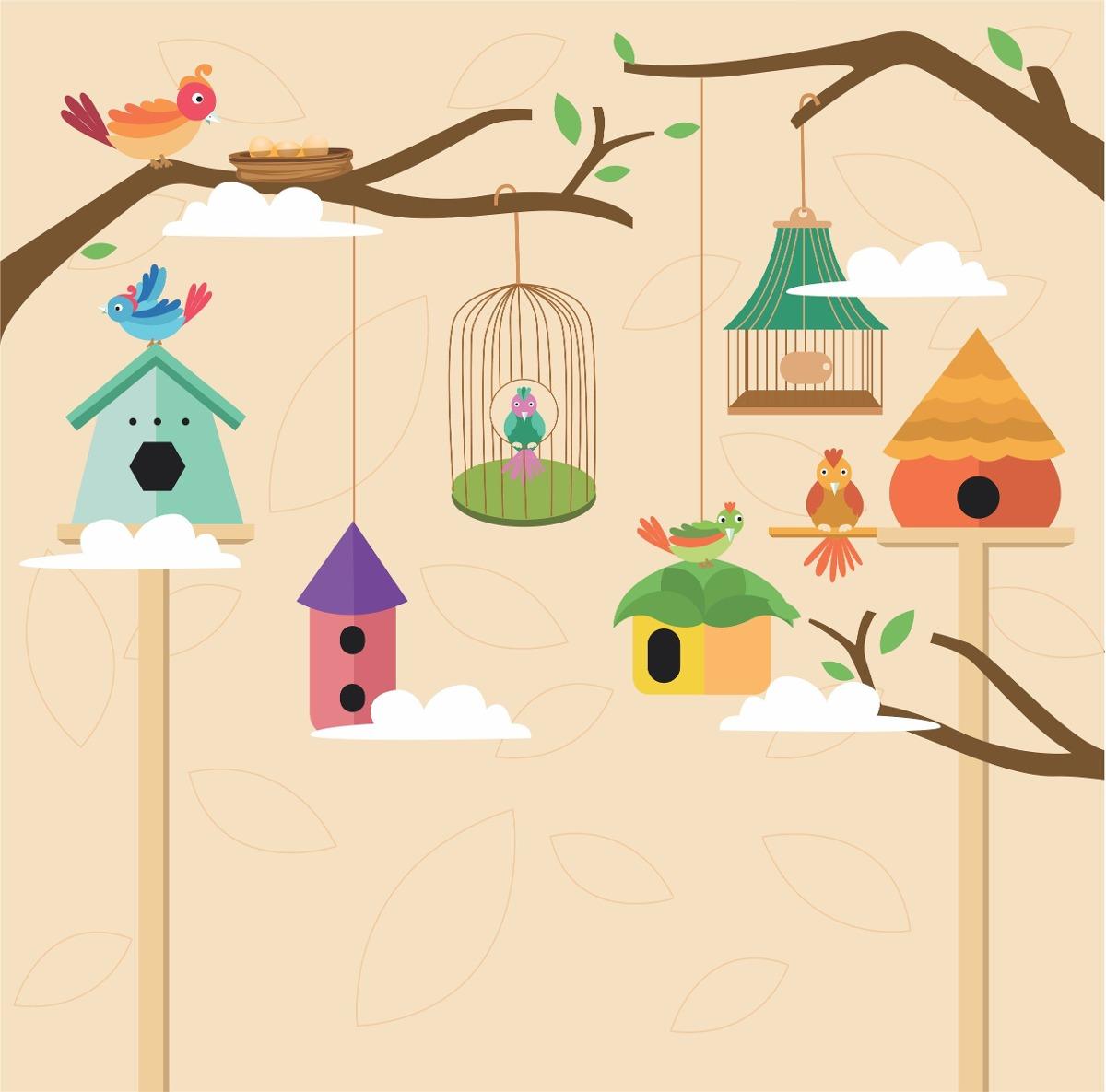 Papel de parede quarto bebe infantil gaiolas passarinho 5m r 169 90 em mercado livre - Papel para pared infantil ...