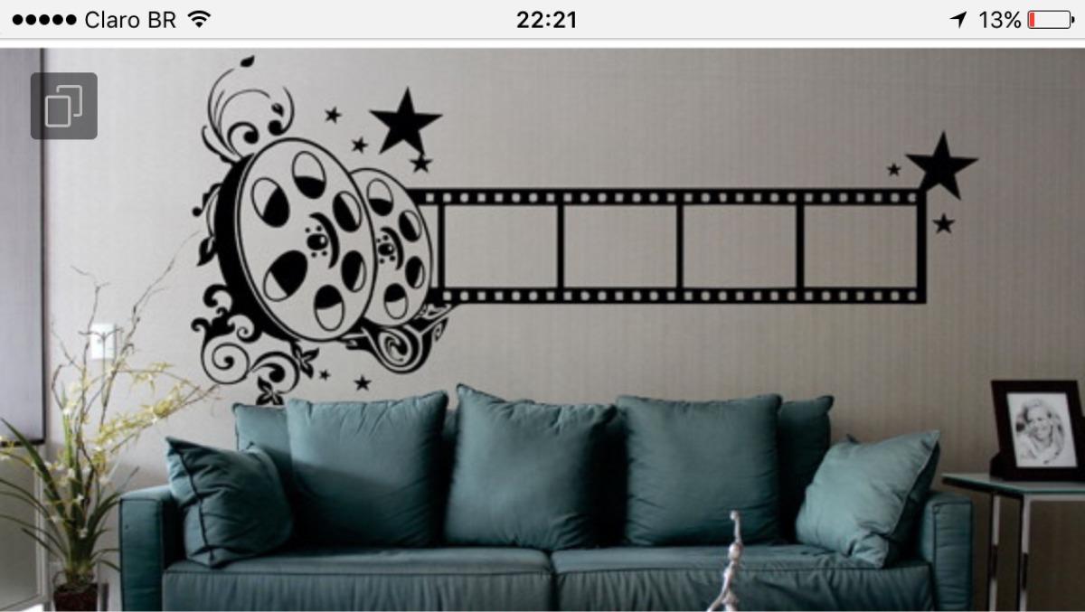 Adesivo De Parede Sala Cinema Rolo Filme Claquete M Sica R 50 00  -> Adesivo Parede Sala De Tv