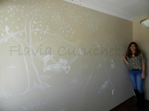 paredes pintadas a mano por muralista.  te pinto 1 mural?
