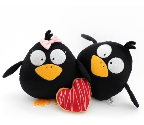 pareja cuervos peluche nombre personalizado boda corazón