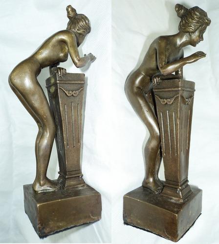 pareja de bronce erotico fauno satiro y ninfa sexo firmado