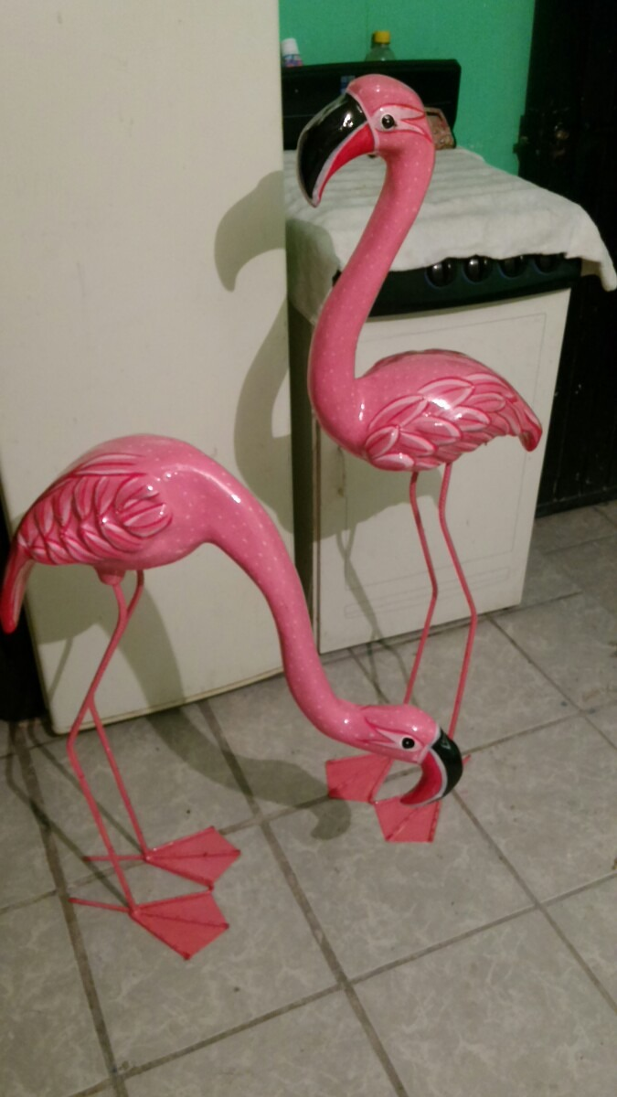 Pareja De Flamingos De Papel Mache - $ 460.00 en Mercado Libre
