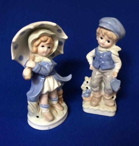 pareja de niños de porcelana japonesa