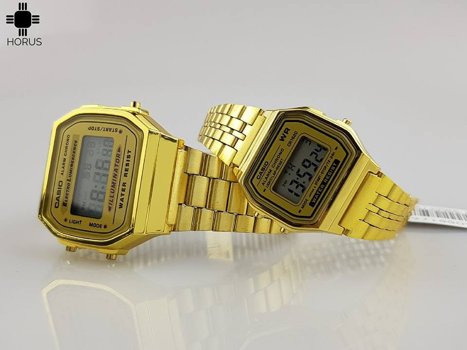 pareja de relojes casio retro vintage a168 dorado horus. Cargando zoom. 80c37561296c