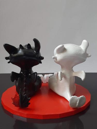 pareja furia y chimuelo impresión 3d coleccionable