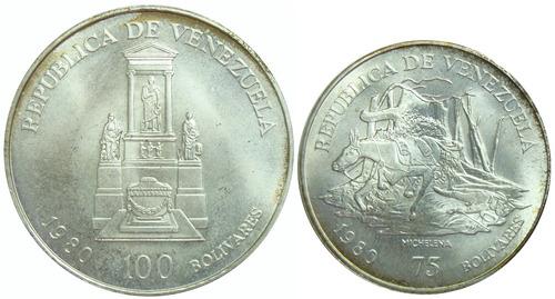 pareja monedas venezuela bolívar y sucre conmemorativas 1980