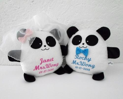 pareja pandas grandes peluche nombre personalizado boda
