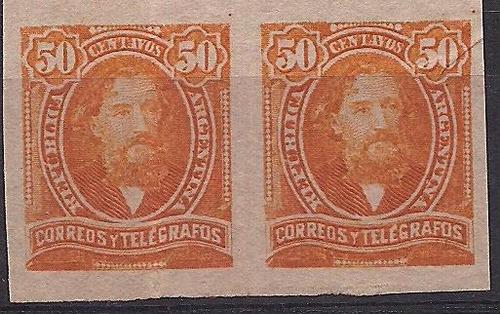 pareja sin dentar proceres mitre 50 centavos año 1889
