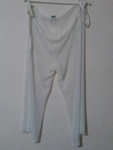 pareo blanco pantalon playero ropa playa talla unica 3v