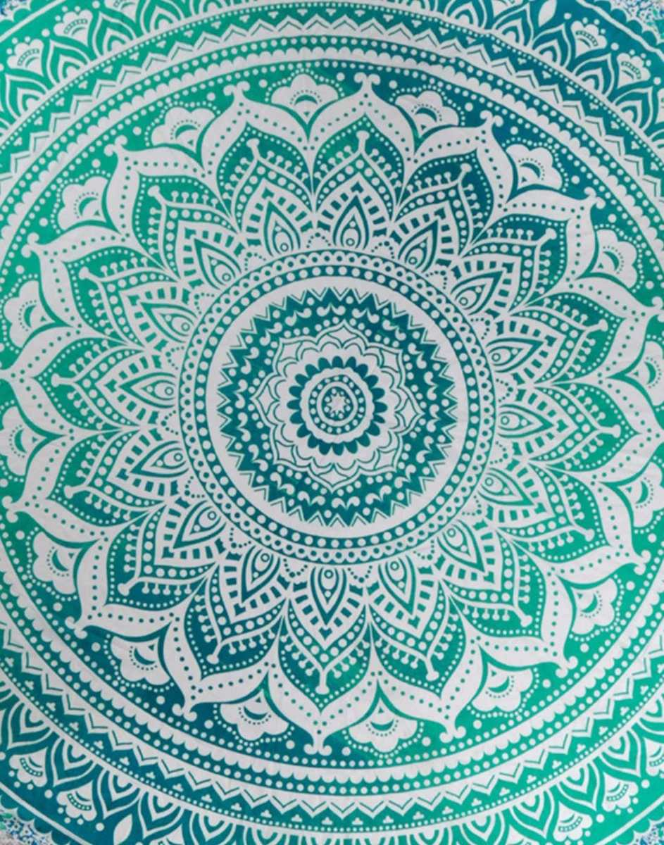 Pareo Hindu Mandala Redondo Con Flecos Color Turquesa India 850