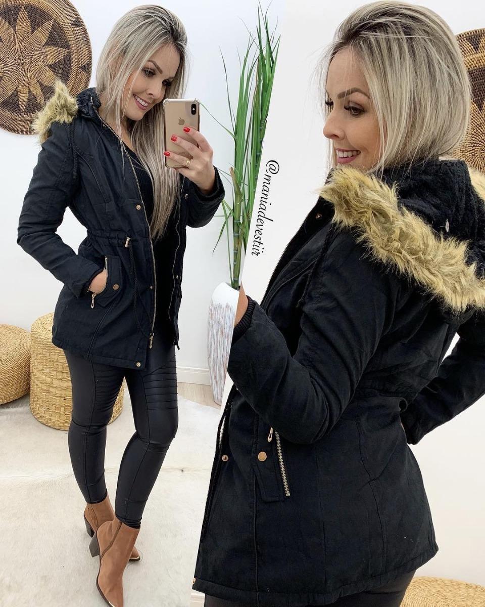 bc83bf84b parka feminina jaqueta inverno forro peluciado com capuz!! Carregando zoom.