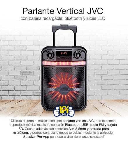 parlant bluetooth jvc recargable led radio fm usb
