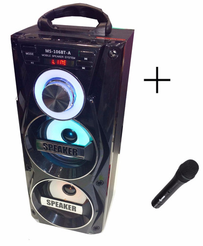 parlante 106 usb sd mp3 bluetooth radio fm luces + microfono