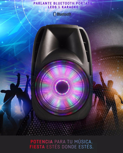 parlante 15 portatil usb luces led bluetooth karaoke 8000w