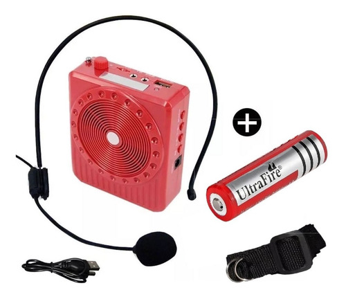 parlante amplificador microfono c pila adicional rec 18650