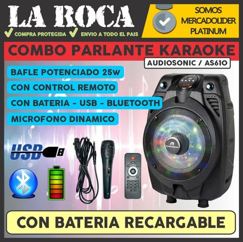 parlante bafle bluetooth karaoke as610 usb bateria radio
