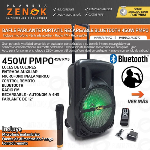 parlante bafle bluetooth recargable mic luces 45w rms fm