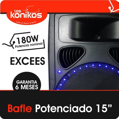 parlante bafle potenciado 15' led usb mic 300w profesional