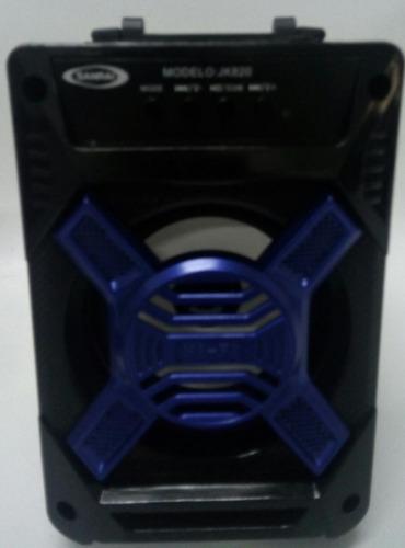 parlante bluetooh usb sd radio fm luces sanrai jk820 azul