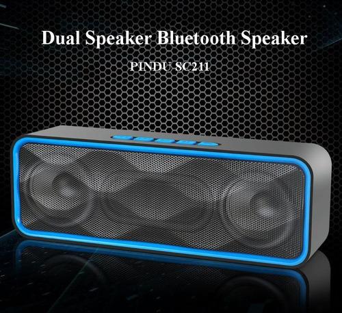 parlante bluetooth 6w c/ subwoofer bat 1800mah fm microsd