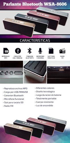 parlante bluetooth 6w metalico usb microsd aux manos libres