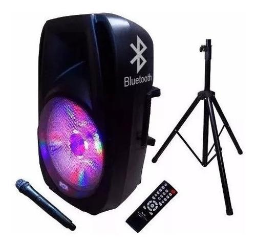 parlante bluetooth 8  recargable + pedestal + mic fm 20000w