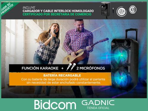 parlante bluetooth aux usb luces microfonos karaoke control