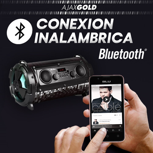 parlante bluetooth bomb 40w luces led potenciado usb radio
