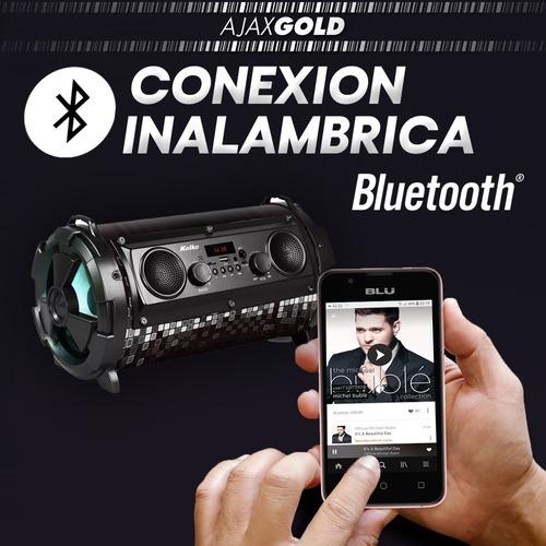 parlante bluetooth bomb 40w luces led potenciado usb radio