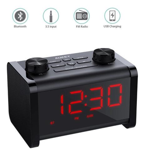 parlante bluetooth despertador - aukey - radio fm - cargador