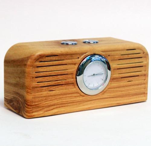 parlante bluetooth fm aux usb micro sd reloj wood rt hdy-111
