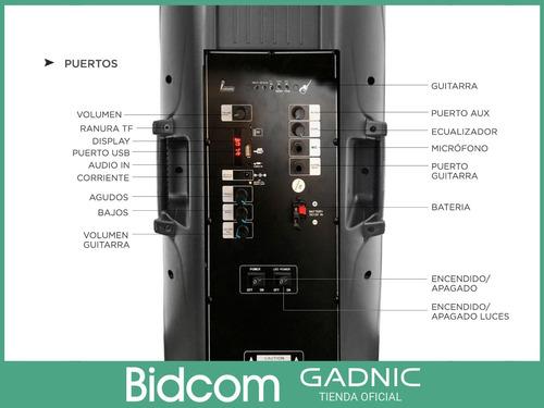 parlante bluetooth gadnic + 2 mics fm usb aux luces mp3 gtia