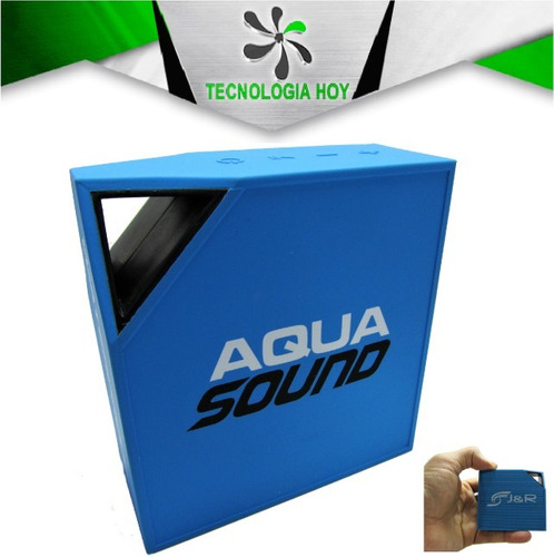 parlante bluetooth j&r aqua sound, acuatico, azul