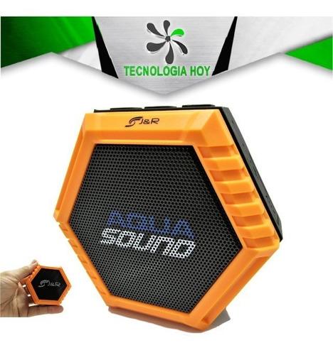 parlante bluetooth j&r aqua sound, acuatico, naranja