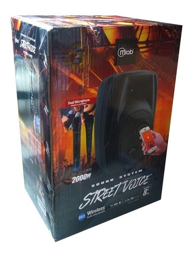 parlante bluetooth karaoke mlab 60w 8  + 2 microfonos