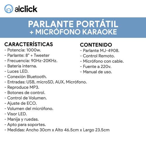 parlante bluetooth karaoke potente led usb ct remoto + mic