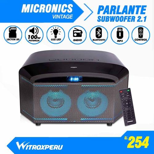 parlante bluetooth micronic subwoofer,fm,usb,100wats luz led
