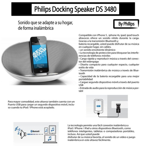 parlante bluetooth philips ds3480 12w iphone 5 6 7 8 x docki
