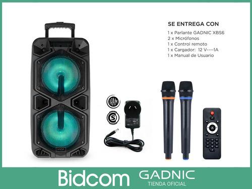 parlante bluetooth portatil carrito + 2 mics wireless luces