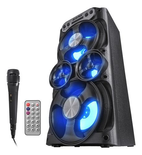 parlante bluetooth portátil luces radio fm usb + micrófono