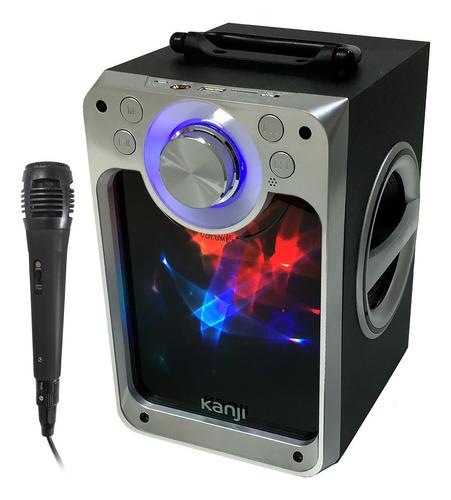 parlante bluetooth portátil radio luces control + micrófono karaoke pendrive usb mp3 fm celu compu tablet batería oferta