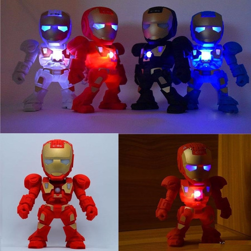 parlante bluetooth robot iron man radio usb con luz led