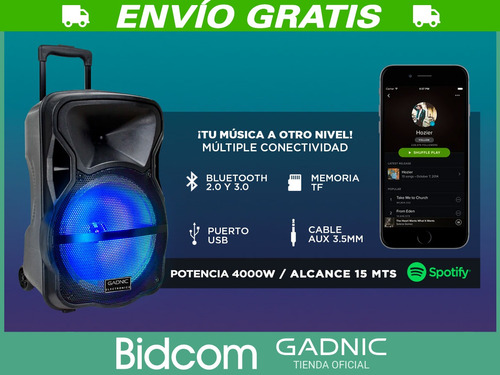 parlante bluetooth ruedas portable + tripode + mic usb mp3