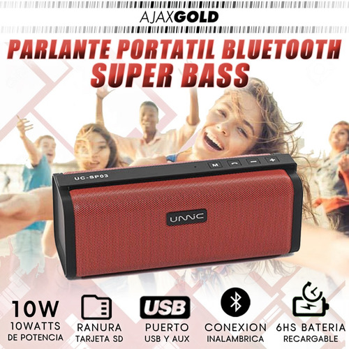 parlante bluetooth usb musica portatil 10w sd super bass fm