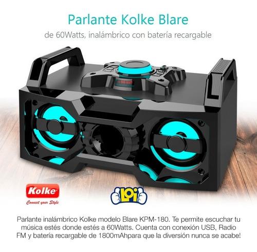 parlante equipo audio blare a batería 60w rms bt fm en loi