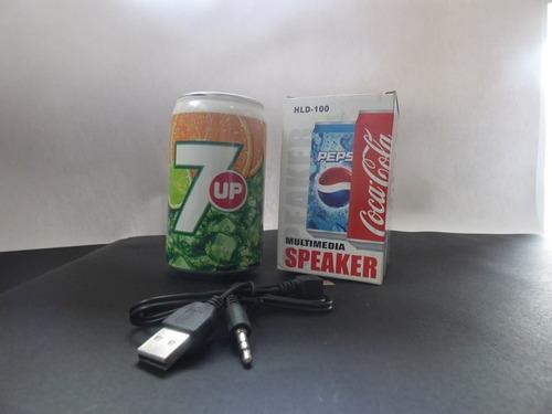 parlante fm/sd/aux/recargable tipo lata de cocacola
