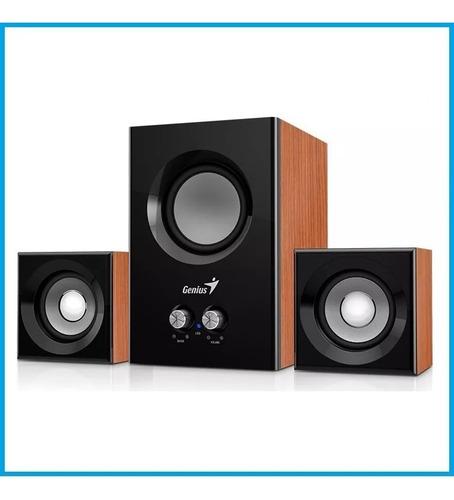 parlante genius sw-2.1 375  caja madera estereo 12w oferta