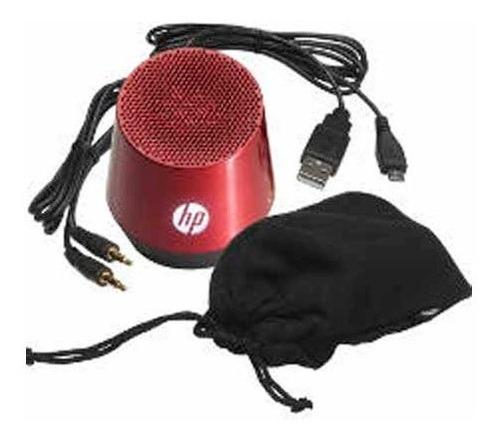 parlante hp mini portable 3.5mm 1.5w rojo